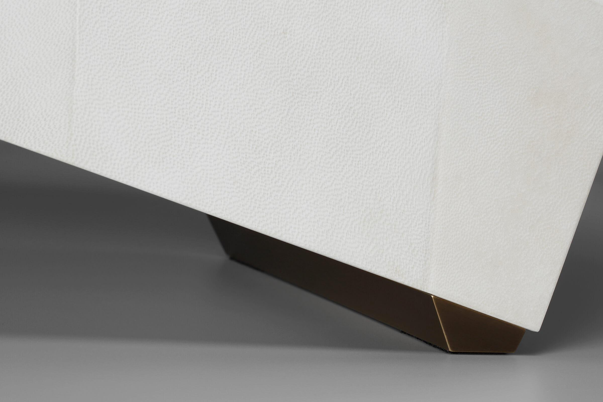 Goatskin Vellum Bench brass foot detail